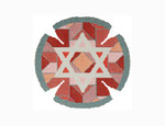 JT026A Two A T Design YARMULKE Size 7.5 diameter 18G Center Star Red