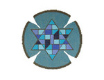 JT027A Two A T Design YARMULKE Size 7.5 diameter 18G Stained Glass Doves Blue