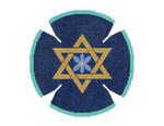JT036A Two A T Design YARMULKE Size 7.5 diameter 18G Torahs