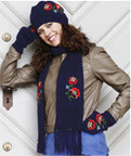 875024 Permin Kntting Kit Scarf & Mittens - Navy Blue