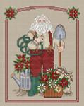 09-2713 Poinsettia Santa (w/charm) 96 x 112 Sue Hillis Designs YT