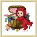 Ellen Maurer-Stroh Little Stitch Devil with Sewbasket