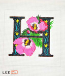 AO1038 Lee's Needle Arts Letter H, Hibiscus 16 Mesh
