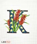 AO1041 Lee's Needle Arts Letter K, Kniphofia 16 Mesh