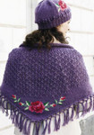 PK873005E Navia Kntting Shawl with Cross Stitch Roses - Off White purple pictured