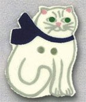 """86101 Mill Hill Button Cat With Bow; 3/4"""" x 1"""""""