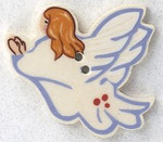 """86011L Mill Hill Button Angel Facing Left; 1 1/2"""" x 1 1/8"""""""