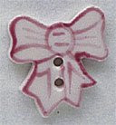 """86064 Mill Hill Button Pink Bow; 5/8"""" x 3/4"""""""