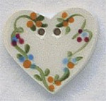 """86133 Mill Hill Button Floral Heart; 7/8"""" x 3/4"""""""