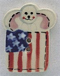 """86126 Mill Hill Button Bunny With Flag; 3/4"""" x 1"""""""
