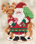 MH182305 Mill Hill Seasonal Ornament / Pin Kit Santa and Rudolph (2012)