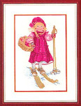 "7712965 Eva Rosenstand Kit Girl Skiing 12"" x 16""; Linen; 26ct"