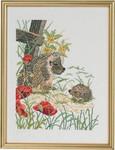 "7714475 Eva Rosenstand Kit Hedgehogs & Poppies 13"" x 17""; Linen; 10ct"