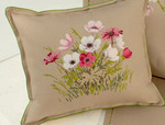 "77014401 Eva Rosenstand Kit Cushion with flowers 14"" x 14""; Linen; 26ct"