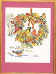 "7712986 Eva Rosenstand Kit Birds & Fall Wreath 12"" x 16""; Linen; 25ct"