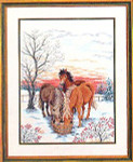 "7712768 Eva Rosenstand Kit Horses Drinking Water 16"" x 20""; Linen; 25ct"