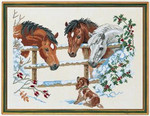 "7712741 Eva Rosenstand Kit Horses & Puppies 18"" x 24""; Linen - White; 26ct"