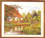 "7714184 Eva Rosenstand Kit Cottage By A Stream 20"" x 24""; Linen; 20ct"