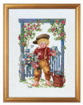 "7712989 Eva Rosenstand Kit Boy with Watering Can 12"" x 16""; Linen; 26ct"