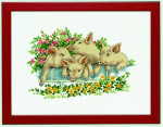 "7714105 Eva Rosenstand Kit Four Pigs 12"" x 16""; Linen; 26ct"