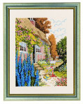 "7714221 Eva Rosenstand Kit House In Flower Garden  16"" x 20""; Linen; 26ct"