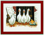 "7714106 Eva Rosenstand Kit Four Geese & Duckling 12"" x 16""; Linen; 26ct"