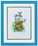 """7714092 Eva Rosenstand Kit Hedgehog in Puddle 11"""" x 14""""; Linen; 26ct"""