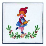 "7725141 Eva Rosenstand Kit Girl with Rolling Pin 7"" x 7""; Linen; 26ct"