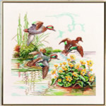 "7714257 Eva Rosenstand Kit Wild Ducks 18"" x 18""; Linen; 26ct"