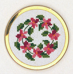 "7746004 Eva Rosenstand Kit Pink Wreath Handbag Mirror 2"" circle; Aida; 18ct"