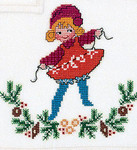 "7725137 Eva Rosenstand Kit Girl with Decorations 7"" x 7""; Linen; 26ct"