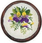 "7744288 Eva Rosenstand Kit Pansy Pincushion 3"" circle; Linen; 30ct"