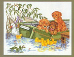 "7712967 Eva Rosenstand Kit Puppies in Boat 28"" x 23""; Linen; 26ct"