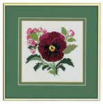 "77084544 Eva Rosenstand Kit Red Pansy 8"" x 8""; Aida; 14ct"