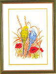 "7712994 Eva Rosenstand Kit Parakeets 12"" x 16""; Linen; 25ct"