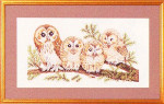 "7714146 Eva Rosenstand Kit Four Charming Owls 20"" x 12""; Linen; 25ct"