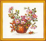 "7712278 Eva Rosenstand Kit Flowers In a Teapot 16"" x 18"" ; Linen; 25ct"