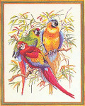 "7712292 Eva Rosenstand Kit Three Parrots 18"" x 24""; Linen; 20ct"