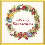 "7712867 Eva Rosenstand Kit Christmas Wreath 12"" x 12""; Linen; 25ct"