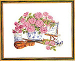 "7714103 Eva Rosenstand Kit Violin And Roses 16"" x 20""; Linen; 25ct"