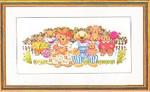 """7714001 Eva Rosenstand Kit Teddy Bear Family 12"""" x 20""""; Linen; 25ct"""