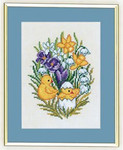 "7712890 Eva Rosenstand Kit Chicks with Crocus 8"" x 10""; Linen; 25ct"