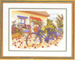 "7714153 Eva Rosenstand Kit Bicycle In The Garden 20"" x 16""; Linen; 25ct"