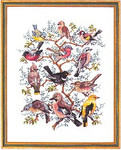 "7712266 Eva Rosenstand Kit Bird Identification 16"" x 20"" ; Linen or Aida; 30ct"