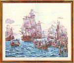 "7712794 Eva Rosenstand Kit Ships In A Harbor 24"" x 30""; Linen; 20ct"