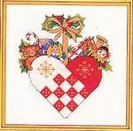 """7712868 Eva Rosenstand Kit Christmas Heart Ornament 10"""" x 10""""; Linen; 25ct"""