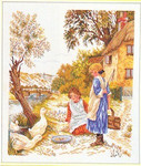 "7712964 Eva Rosenstand Kit Girls Feeding Ducks 18"" x 20""; Linen; 25ct"
