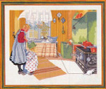 "7712479 Eva Rosenstand Kit Girl In Kitchen 20"" x 16""; Linen; 25ct"