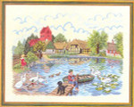 "7712729 Eva Rosenstand Kit Fishing Pond 24"" x 18""; Linen; 20ct"
