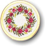"7746007 Eva Rosenstand Kit Wreath Handbag Mirror 2"" circle; Aida; 18ct"